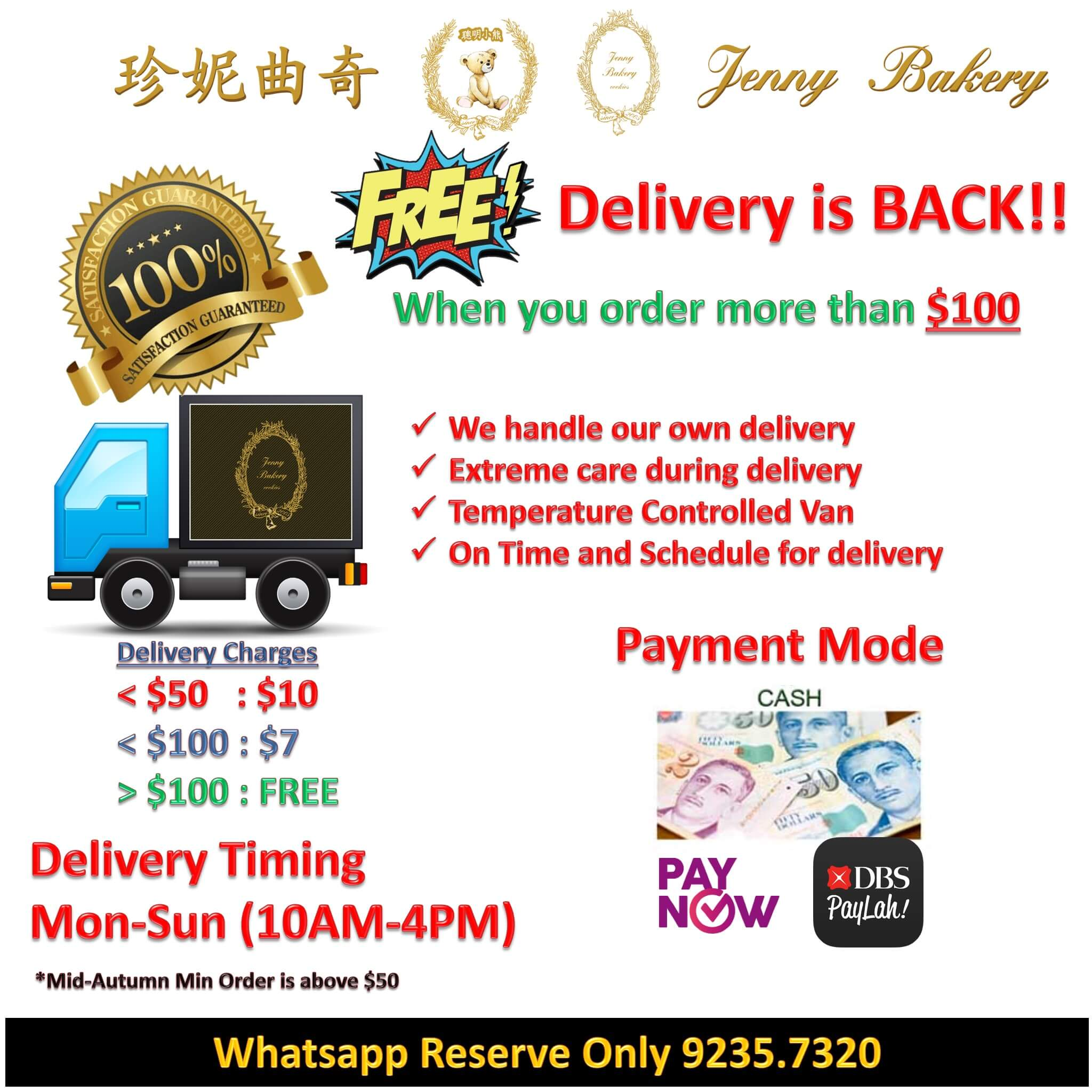 Free Delivery when over $100
